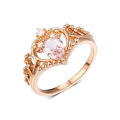 0.8 Carat Pear Cut Morganite Beryl Exquisite Carved Hollow 14k Rose Gold Diamond Ring For Woman