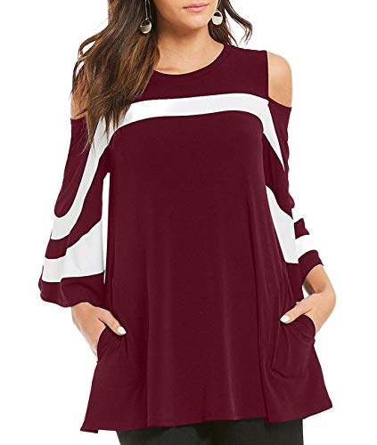 Three Cardigan Long Button (MuCoo Women's Cut Out Shoulder Colorblock Striped 3/4 Bell Sleeve Blouses Tops with Pockets Red 2XL)