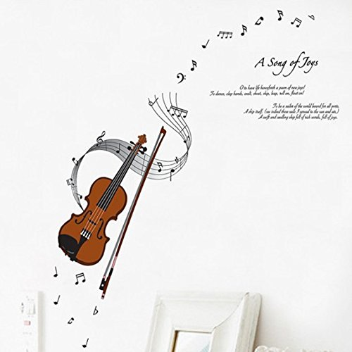 ORDERIN Christmas Gift Wall Decal Mural Violin Musical Notation Removable Wall Stickers for Children Bedroom Musical Room Wall Decor