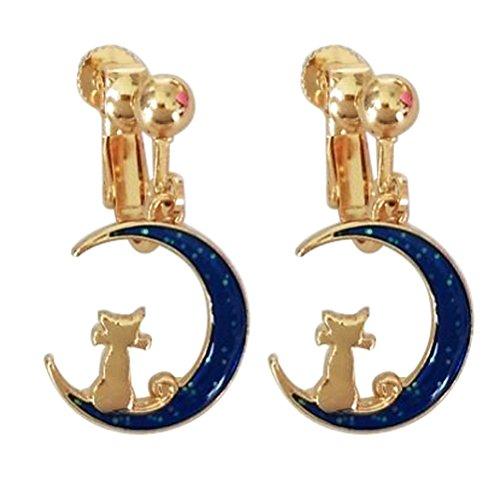 Screw Back Clip on Earring Clip for non Pierced Dangle Charm Moon Cat for Women Enamel Blue