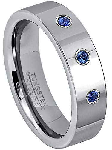 Jewelry Avalanche 0.21ctw Blue Sapphire 3-Stone Tungsten Ring - September Birthstone Ring - 6MM Polished Pipe Cut Comfort Fit Tungsten Carbide Wedding Band -9 ()