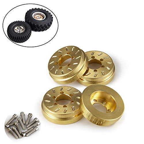 RCLions Brass RC Wheel Weight Block Counterweight Upgrade Parts for 1/10 RC Crawler Car 1.9inch/2.2inch Wheels Rims