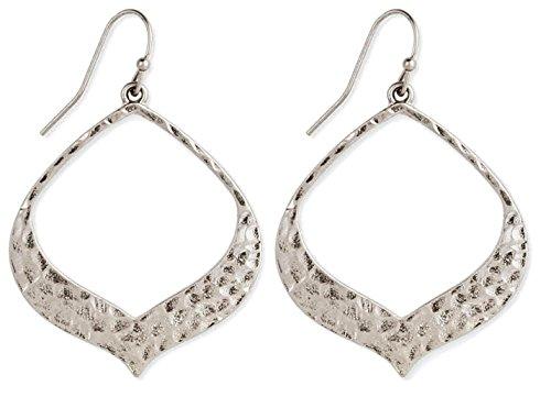 Bohemian Open Hammered Silver Earrings