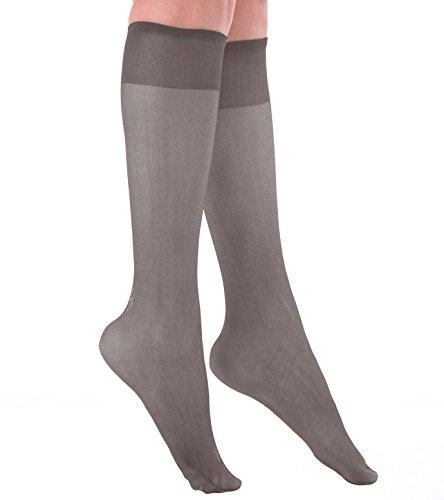Grandeur Hosiery Women's Ladies Plus Size Queen Sheer Support Knee High Stockings 3-Pack Off Black - High Socks Knee Sale