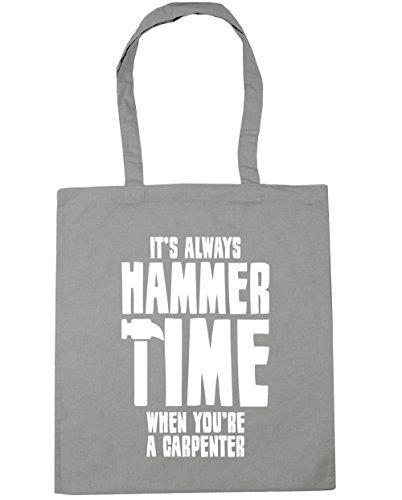 HippoWarehouse Siempre Es martillo tiempo cuando eres un carpintero Tote Compras Bolsa de playa 42cm x38cm, 10litros gris claro