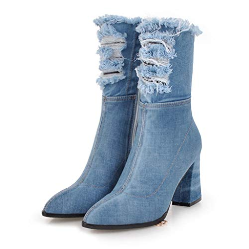 Denim Mid Calf Boots for Woman Fashion Zip Up Pointed Toe Chunky Heels Outdoor Riding Shoes