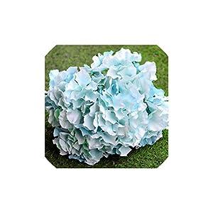 Smileshop01 5 Heads Big Hydrangea Silk Flower Bouquet Simulation Plants Table Office Home Hotel Party Wedding Decoration Fake Flowers,Light Blue 43