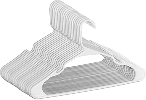 Plastic Hangers - Durable & Slim - by Utopia Home (white, 50) (Coat In Closet Built)