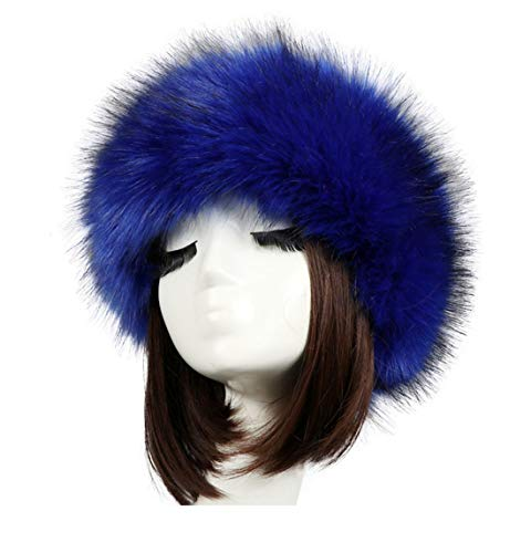 Tngan Women's Faux Fur Headband Soft Winter Cossack Russion Style Hat Cap Royal Blue