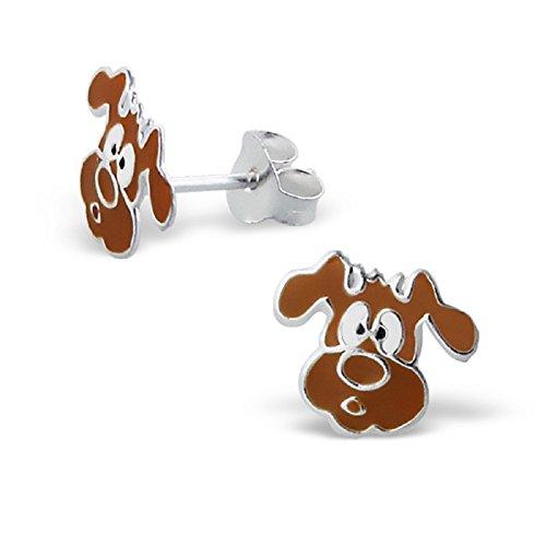 Laimons - Boucles d'oreille pour enfant - argent sterling 925 - chien - marron