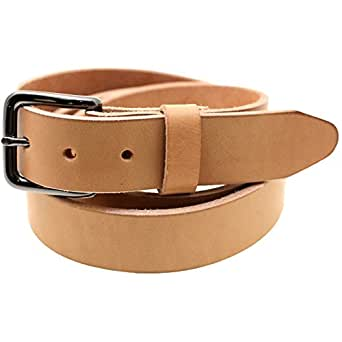 USA Made 1 3/8 Natural Tan Harness Leather Belt Burnished Natural Edge Size 34