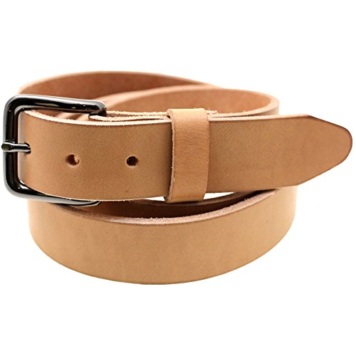 USA Made 1 3/8 Natural Tan Harness Leather Belt Burnished Natural Edge Size (Burnished Leather)