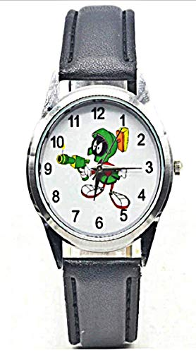 (New Horizons Production Looney Tunes Marvin The Martian Black Leather Band Wrist Watch)