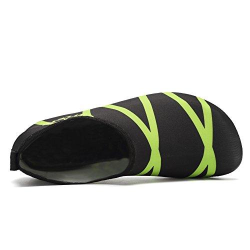 EQUICK Damen Wasserschuhe Quick-Dry Verschnaufpause Sport Skin Schuhe Barfuß Rutschfeste Multifunktionssocken Yoga Übung T.grün