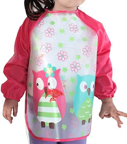 Aisa Children Kids Waterproof Long-sleeved Smock Apron Bib for Eating Painting Red Owl