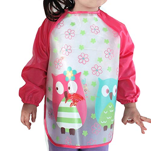 Aisa Children Kids Waterproof Long-sleeved Smock Apron Bib for Eating Painting Red Owl -
