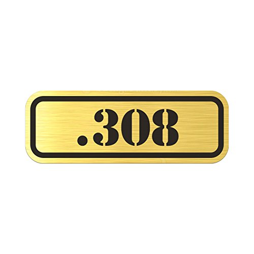 RDW (4X .308 Metallic Ammo Can Badge Sticker Self Adhesive Label 3M Bullet 308 - Gold