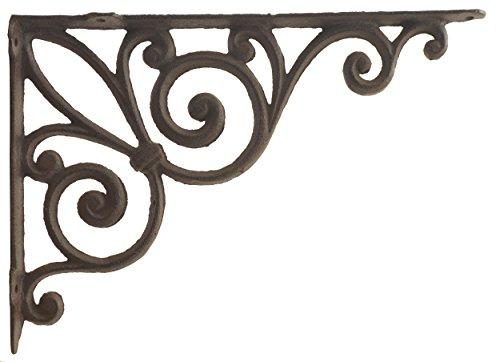 Bracket Granite Wall - Ribbon Fleur De Lis Cast Iron Wall Shelf Bracket Ornate Rust Brown 11.375