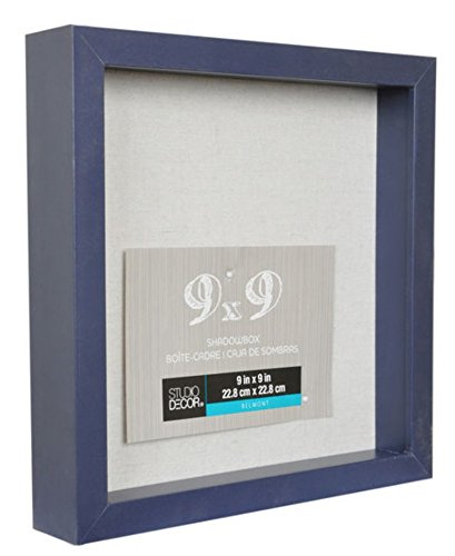 9 x 9 Navy Blue Shadow Box Display Case Heavy Wood Frame 1'' Working Depth (Navy Blue) Nursery Wedding Graduation Memory Picture Frame Shadowbox frame by Generic (Image #2)