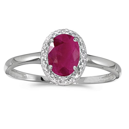 Jewels By Lux 14k White Gold Genuine Red Birthstone Solitaire Oval Ruby And Diamond Wedding Engagement Ring - Size 6 (0.73 Cttw.)