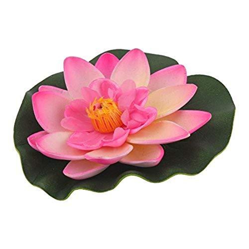 MARJON FlowersAquarium Fish Tank Pond Artificial Floating Lotus Flower Decor Ornament Pink