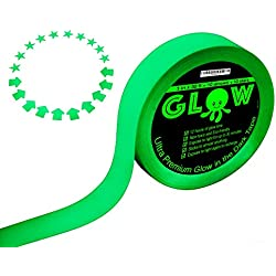 Best Glow in the Dark Tape for Safety, Stairs, Light Switches, Stage, Theatrical, Theater, Exits, Decals, Ceiling, Floor, Vinyl, Stripe, Arrows, Stars, Dots, Waterproof, Gaffers, Fluorescent Duct Tape