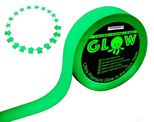 Best Glow in the Dark Tape for Safety, Stairs, Light Switches, Stage, Theatrical, Theater, Exits, Decals, Ceiling, Floor, Vinyl, Stripe, Arrows, Stars, Dot, Waterproof, Gaffers, Halloween, Fluorescent]()