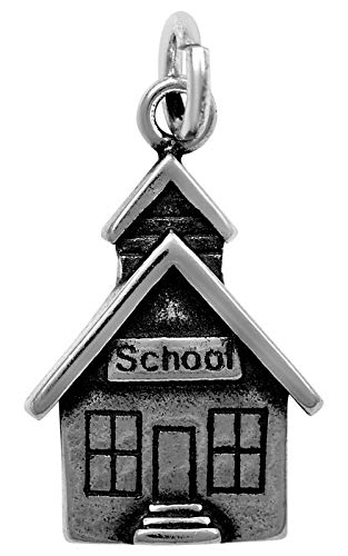 Raposa Elegance Sterling Silver School House Charm (approximately 15 mm x 11.5 mm) (Silver Charm House Sterling)