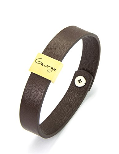 - Mens Bracelet, Custom Engraved Brown Leather Calf, Personalized Bracelet, Father's Day Gift