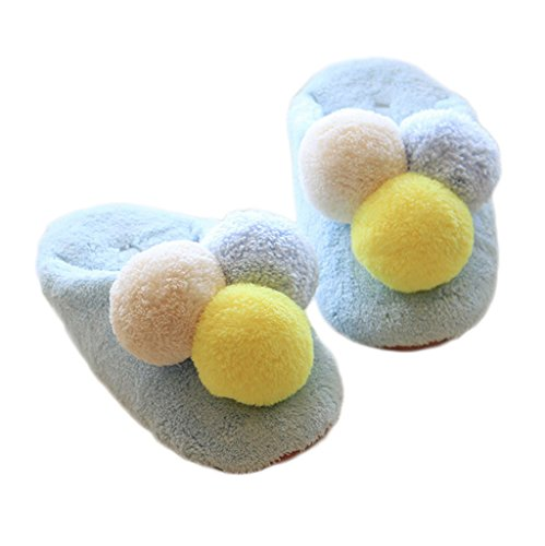 Fortuning's JDS Women Girls Ladies Cozy Velvet House Footwear Blue Comfy Fleece Slippers with Three Colorful Pompon aLyv5fx