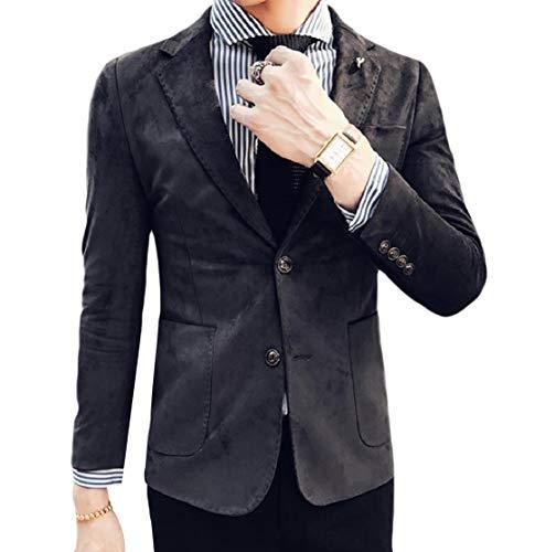 YUNY Men Faux Suede Pocket Button Notched Collar Blazer Sport Coat Jacket 1 L - Notched Collar Suede Blazer
