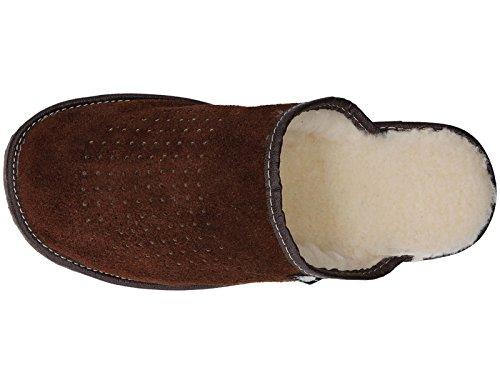 Pantuflas Para Hombre De Gamuza Con Lana Natural marron oscuro