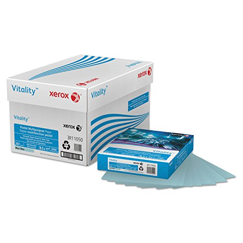 Ream Xerox - Multipurpose Pastel Colored Paper, 20-lb, Letter, Blue, 500 Sheets/Ream
