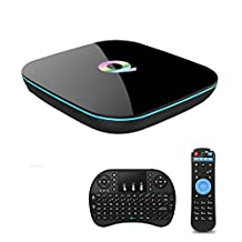 [with Wireless Keyboard] REDGO Q Box Android Q-Box Amlogic S905 Quad Core 2G 16G Dual WIFI 2.4G/5G 4K H.265 with Bluetooth 4.0 Smart TV Box