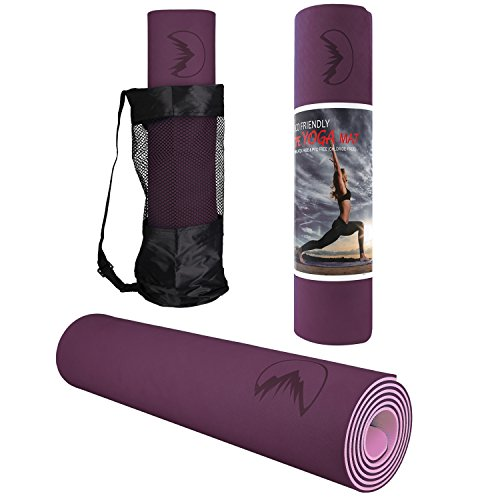 LHOTSEX 1/4 Inch Exercise Yoga Mat, Eco Friendly Non Slip Exercise Yoga Mat for Pilates Fitness and Workout