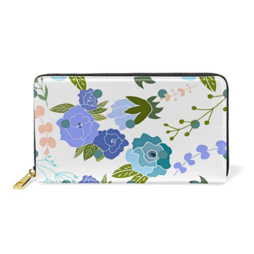 Blossoming Rose Bloom Real Leather Zip Around Wallet Wristlet Minimalist Wallet Travel Purse Wristlet