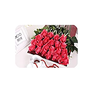 6 Heads Real Touch Spring Latex Flowers Artificial Rose Flowers Bouquets for A Wedding Home Office Decoration,C Light red 3 113