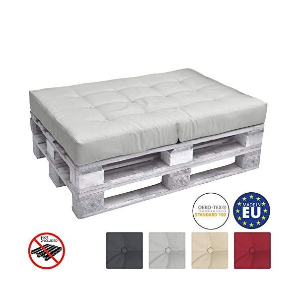Beautissu ECO Elements Coussins pour Canape Euro Palette – Assise, Banquette – 120x80x15cm – Gris Clair