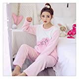 Winter Female Pajama Polyester Full Trousers Lady Two Piece Pajama Set Cartoon Cat Print Home Clothing Women's Flannel Pajamas Color 13 XL
