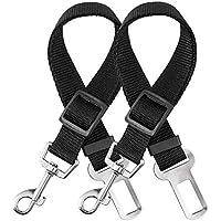 elloLife 2 Cinturón de Seguridad de Coche para Perros, Arnés del Cinturón de Nylon Ajustable Universal para trasportar…