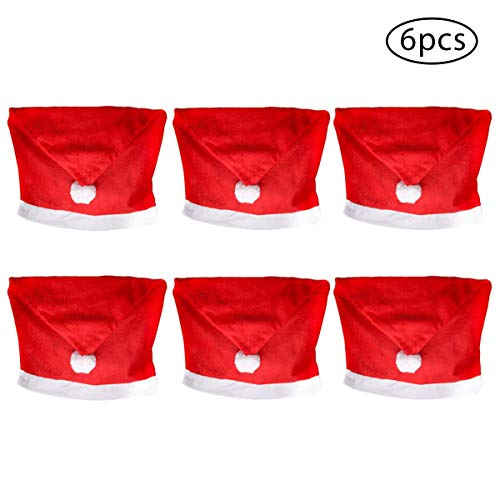 Santa Hat Chair Covers Santa Clause Red Hat Chair Back Covers Kitchen Dining Chair Slipcovers Sets for Xmas Decoration 6 Pack