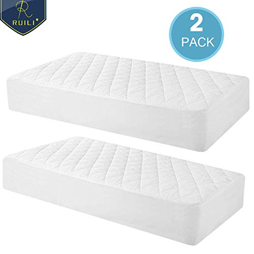 - 100% Waterproof 2 Pack Quilted Fitted Crib Mattress Protector, Soft Breathable Organic Bamboo Baby Waterproof Mattress Pad, Natural Hypoallergenic Vinyl Free Mattress Cover for Stains, Dust Mite Proof