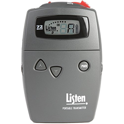Listen Technologies LT-700-072 Portable Display RF Transmitter, Up to 6 Channels Simultaneously on 72 MHz Band, Mute Switch, Compatible with Standard AA and NiMh Batteries, 57 Different Channels