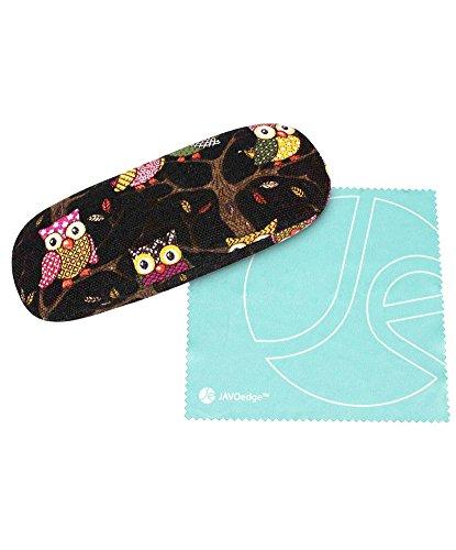 JAVOedge Black Owl Fabric Print Eyeglass/Sunglass Clam Shell Style Case with Bonus Mircofiber Cleaning Cloth