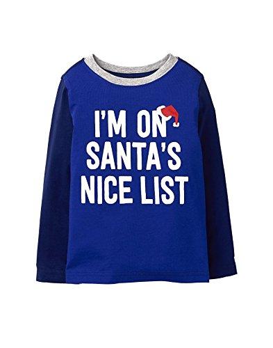 Nice Graphics - Crazy 8 Boys' Toddler Long Sleeve Graphic Tee, Blue Nice List, 18-24 mo