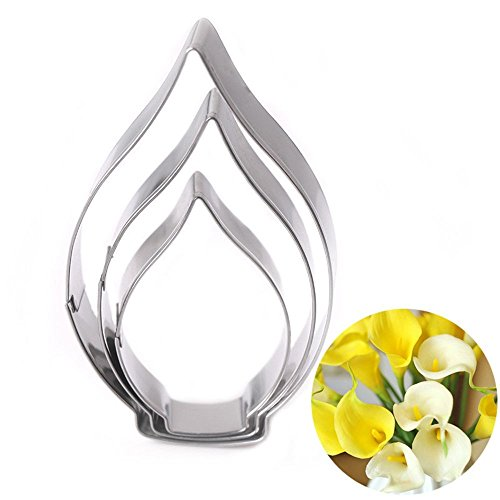 MAXGOODS 3Pcs Calla Lily Flower Shaped Cookie Cutters,Stainless Steel Multi-size Fondant Biscuit Cutter Candy Making Molds,DIY Baking (Lily Cutter)