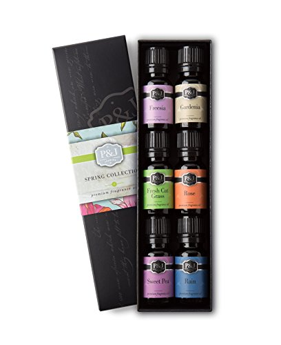 P&J Trading Spring Set of 6 Premium Grade Fragrance Oils - Gardenia, Sweet Pea, Fresh Cut Grass, Rain, Freesia, Rose - 10ml