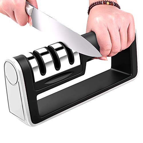 Kitchen Knife Sharpener Professinal 3 Stages Handheld Knife Sharpeners Tungsten Diamond Ceramic Sharpening Tool To…