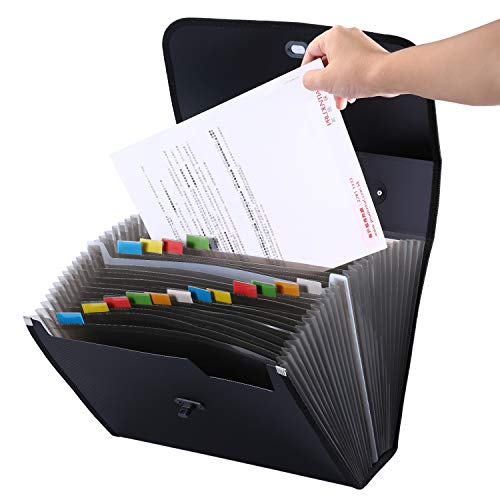 26 Pockets Large A-Z Expanding Document File Organizer,UBaymax Accordion Plastic File Folder Box with Handle,A4 and Letter Size Black,Hold 1000 Sheets