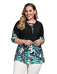 Chicwe Women's Stretch Plus Size Floral Lace up Tunic Top Deep V Neck 1X-4X